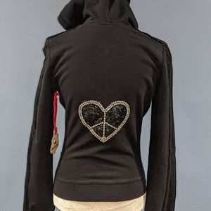 Twisted Heart Black Peace sign zip up Jacket S